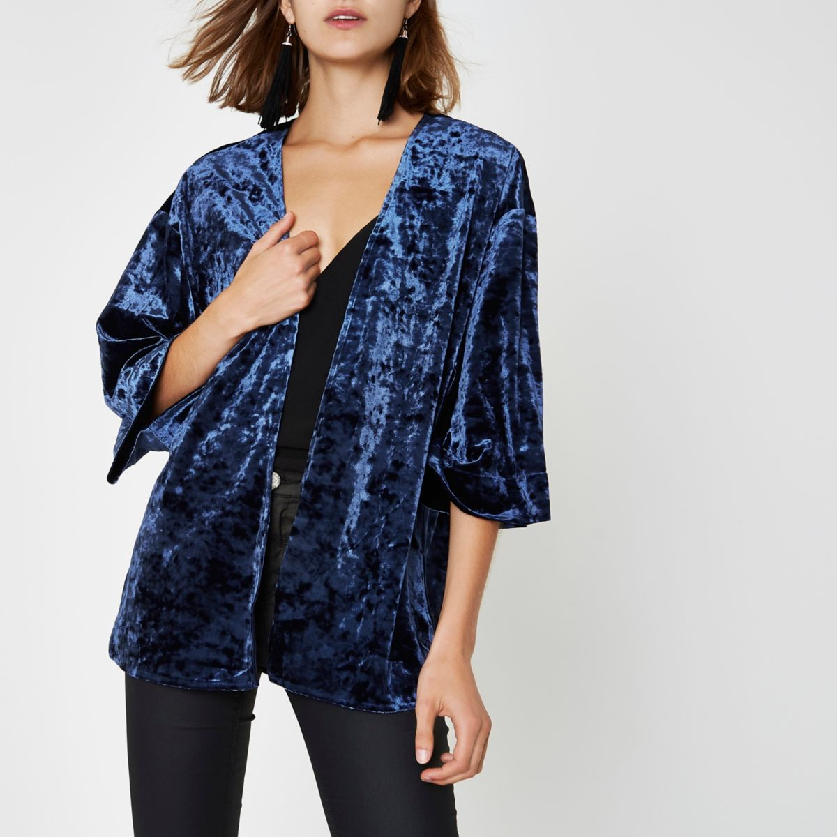 Navy velvet cropped kimono - Coats & Jackets - Sale - women