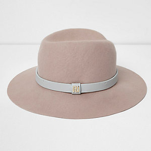 Light pink wide brim fedora hat