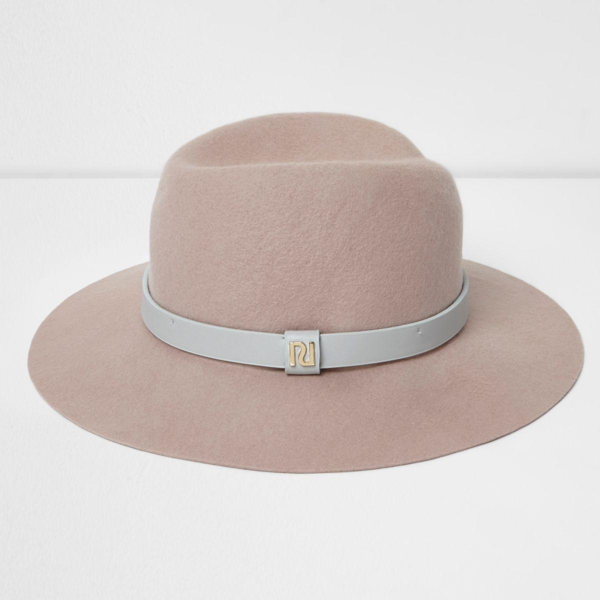 Light pink wide brim fedora hat