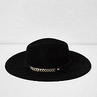 Chapeau fedora noir à large bord et galon chaîne