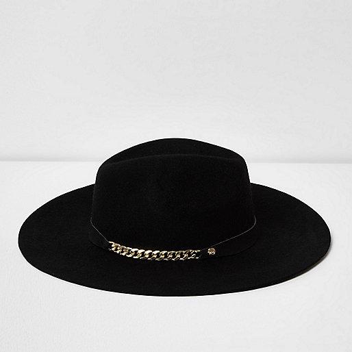 Black wide brim chain trim fedora hat