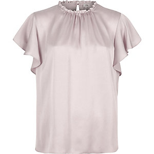 Light purple satin frill sleeve top