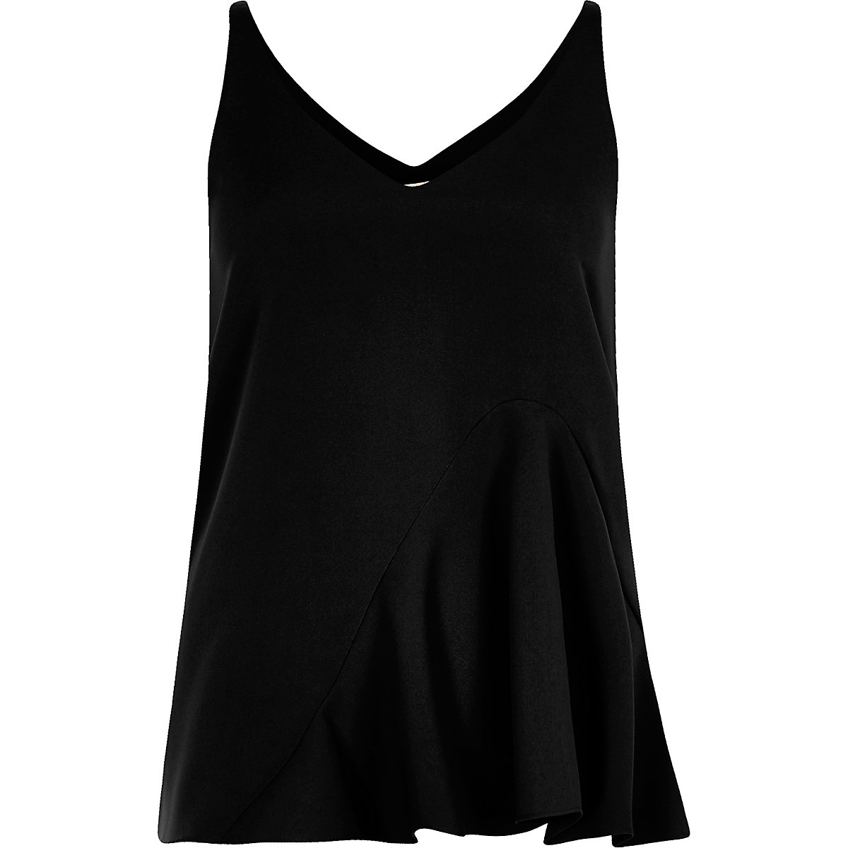 Black frill hem cami top