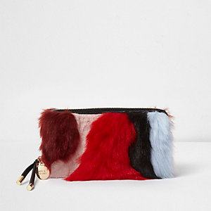 Red multi-coloured faux fur zip around purse
