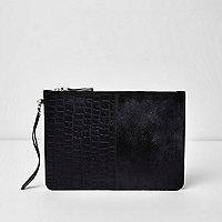 Black leather croc embossed clutch bag