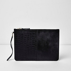 Black leather croc embossed clutch bag