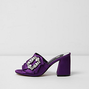 Purple gem embellished block heel mules