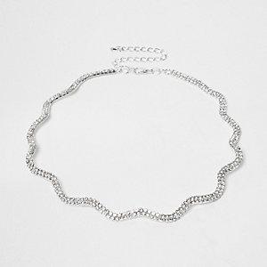 RI Plus - Zilverkleurige golvende chokerketting met siersteentjes