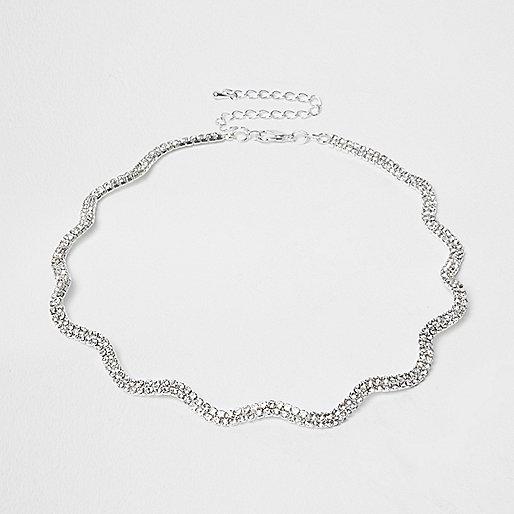 Plus silver tone diamante wavy choker