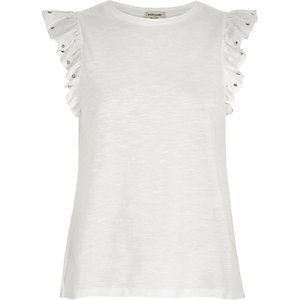 White studded frill sleeve tank top