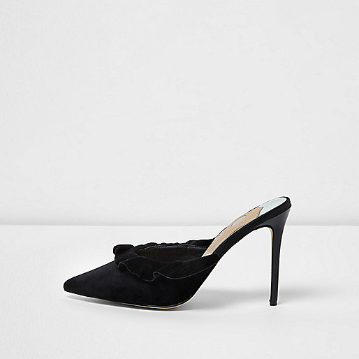 Black suede frill court style mules