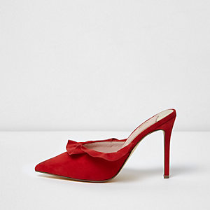 Red suede frill court style mules