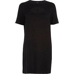 Zwarte T-shirtjurk met opening voor en uitsneden