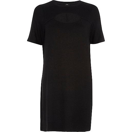 Black keyhole cut out T-shirt dress