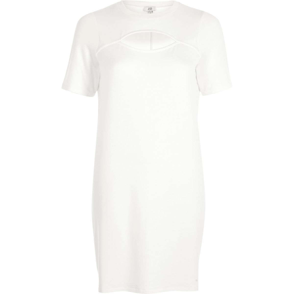 White cut out front jersey T-shirt dress