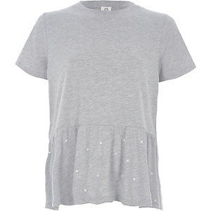 Grey marl peplum hem T-shirt