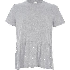 T-shirt gris à basque péplum