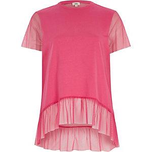 Pink mesh peplum hem T-shirt