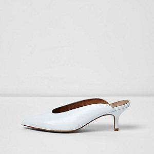 White pointed high vamp kitten heel mules