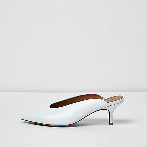 White pointed high vamp kitten heel mules