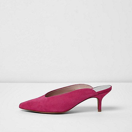 Pink pointed high vamp kitten heel mules