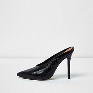Black pointed high vamp stiletto mules