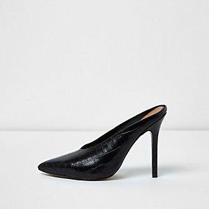 Zwarte puntige vampmuiltjes met stilettohak
