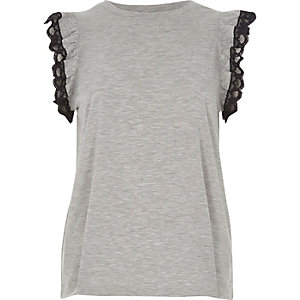 Grey marl frill lace sleeve tank top