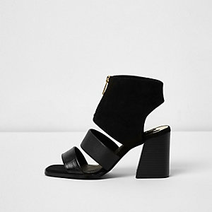 Black zip front open toe shoe boots