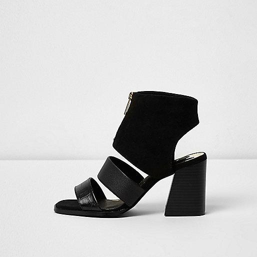 Black zip front open toe shoe boots