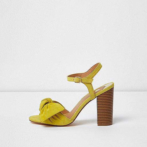 Yellow bow front block heel sandals