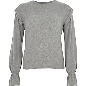 Grey jersey frill shoulder top