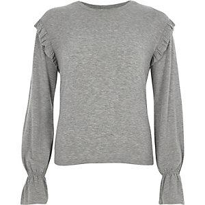 Grey jersey frill shoulder top