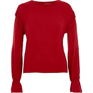 Red frill shoulder long sleeve top