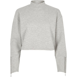 Grey marl zip cuff high neck sweatshirt