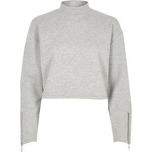 Gemêleerd grijs hoogsluitend sweatshirt met rits aan de manchetten