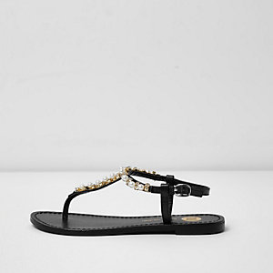 Black rhinestone embellished leather sandals