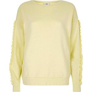 Sweatshirt in Hellgelb mit Rüschen
