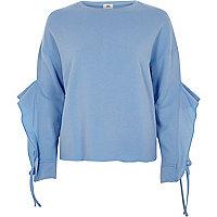 Blue frill sleeve sweatshirt