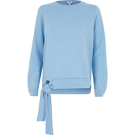 Light blue tie hem sweatshirt