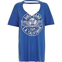 T-shirt boyfriend « girl gang » bleu à ras-de-cou