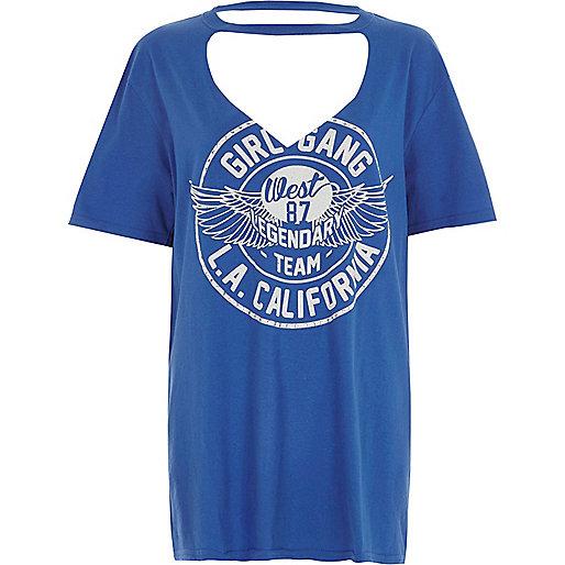 Blue 'girl gang' choker boyfriend T-shirt