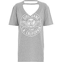 Grey 'girl gang' choker boyfriend T-shirt