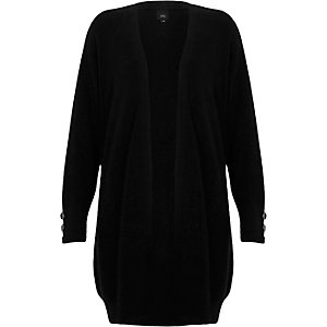 Black knit longline button side cardigan