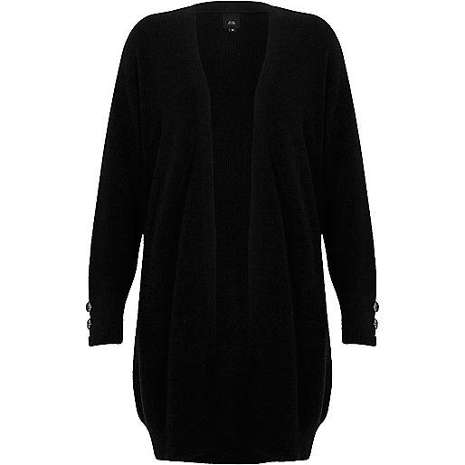 Black knit longline button side cardigan