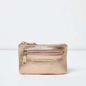 Kleine roségouden metallic portemonnee