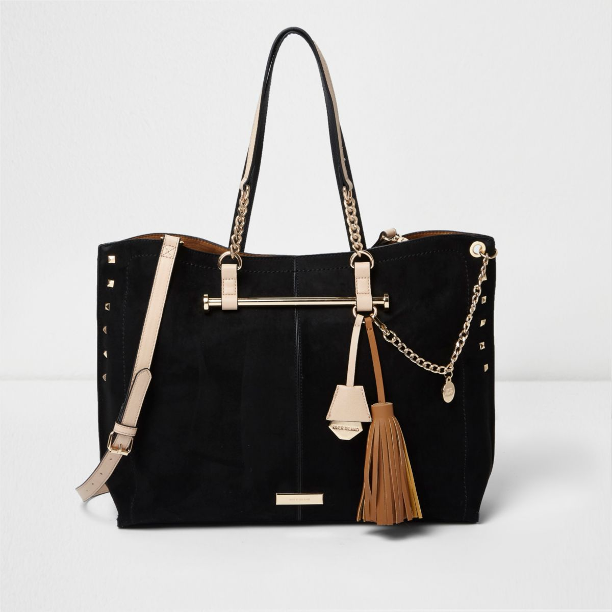 Black studded chain winged tote bag