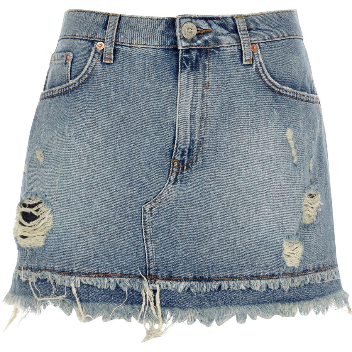 Mid blue frayed hem denim mini skirt
