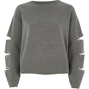 Grey pearl slash sleeve sweatshirt