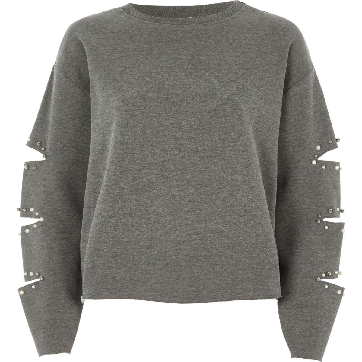 Grey pearl slash sleeve sweatshirt